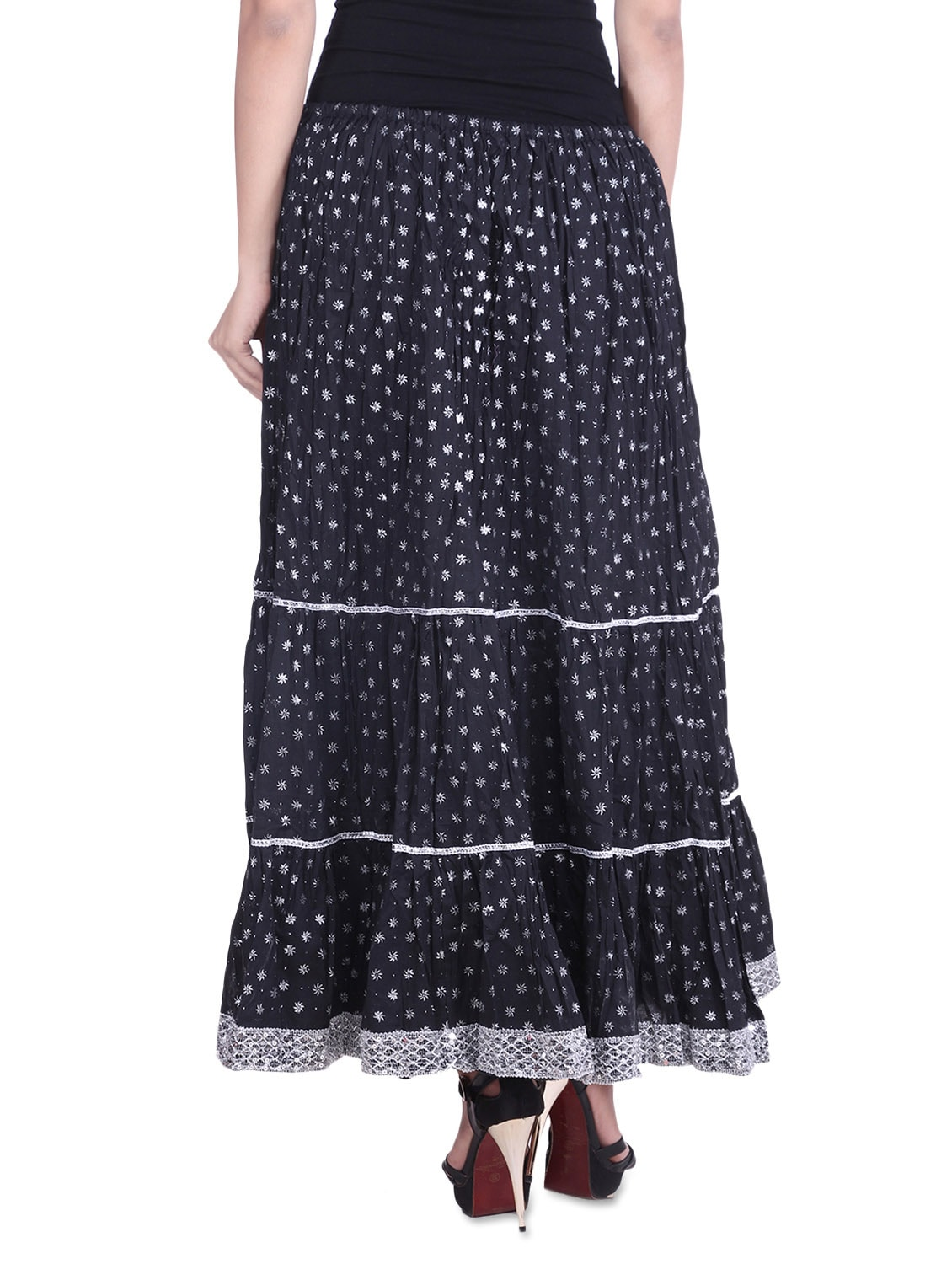 77e046e4ee Buy Black Cotton Printed N Sequined Gathered Skirt for Women from Soundarya  for ₹799 at 20% off | 2019 Limeroad.com