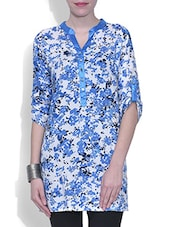 White Floral Printed Quarter Sleeved Viscose Kurti - By