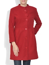 Solid Red Buttoned Woolen Long Coat - By