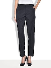 Black Rayon Straight Fit Formal Trousers - By