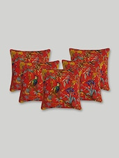 Red Cotton Printed  Cushion Cover Set - By