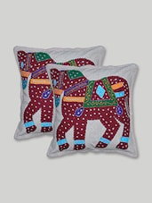 Beige Patch Worked  Cotton Cushion Cover Set - By