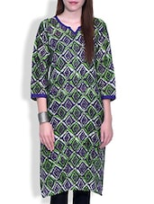 Purple And Green Printed Cotton Kurti - By