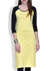 Yellow Quarter Sleeved Knitted Cotton Kurta - By