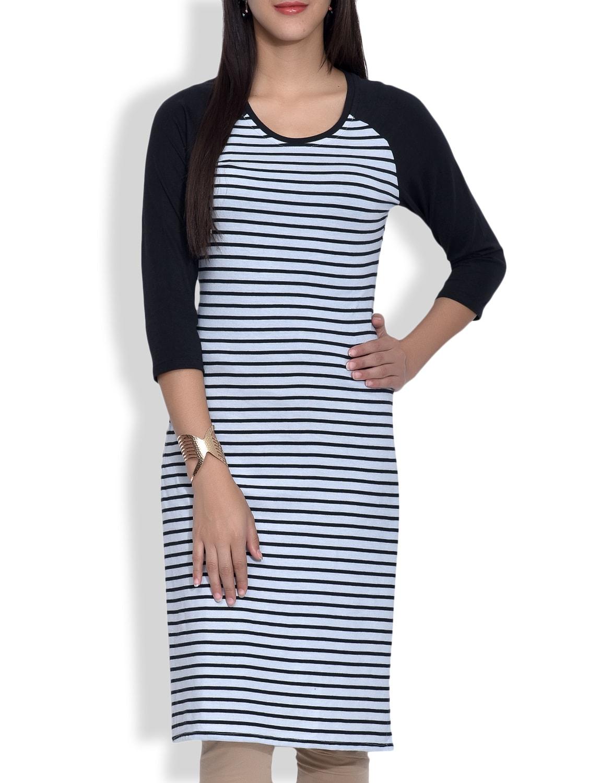 Monochrome Striped Knitted Cotton Kurta - By