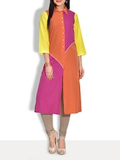 Multicolor Color-Blocked Pure Crepe Long Shirt Kurta - By