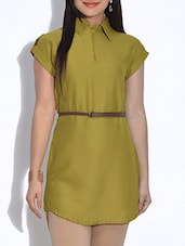 Olive Green Crepe Hi-Lo Kurti With Belt - By