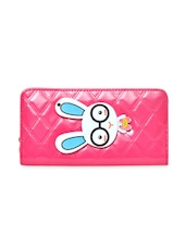 Pink Textured Leatherette Clutch With Bunny Patchwork - By