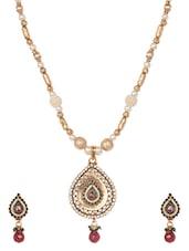 Gold Plated Teardrop  Necklace Set - Blinglane