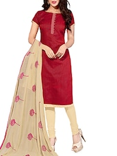Beige And Maroon Chanderi Unstitched Suit Set - By