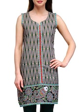 Black Printed Sleeveless Cotton Kurta - By
