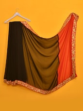 Bollywood Style Black And Red Embroidered Saree - Vamika