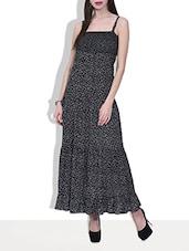 Black Rayon Printed Maxi Dress - By