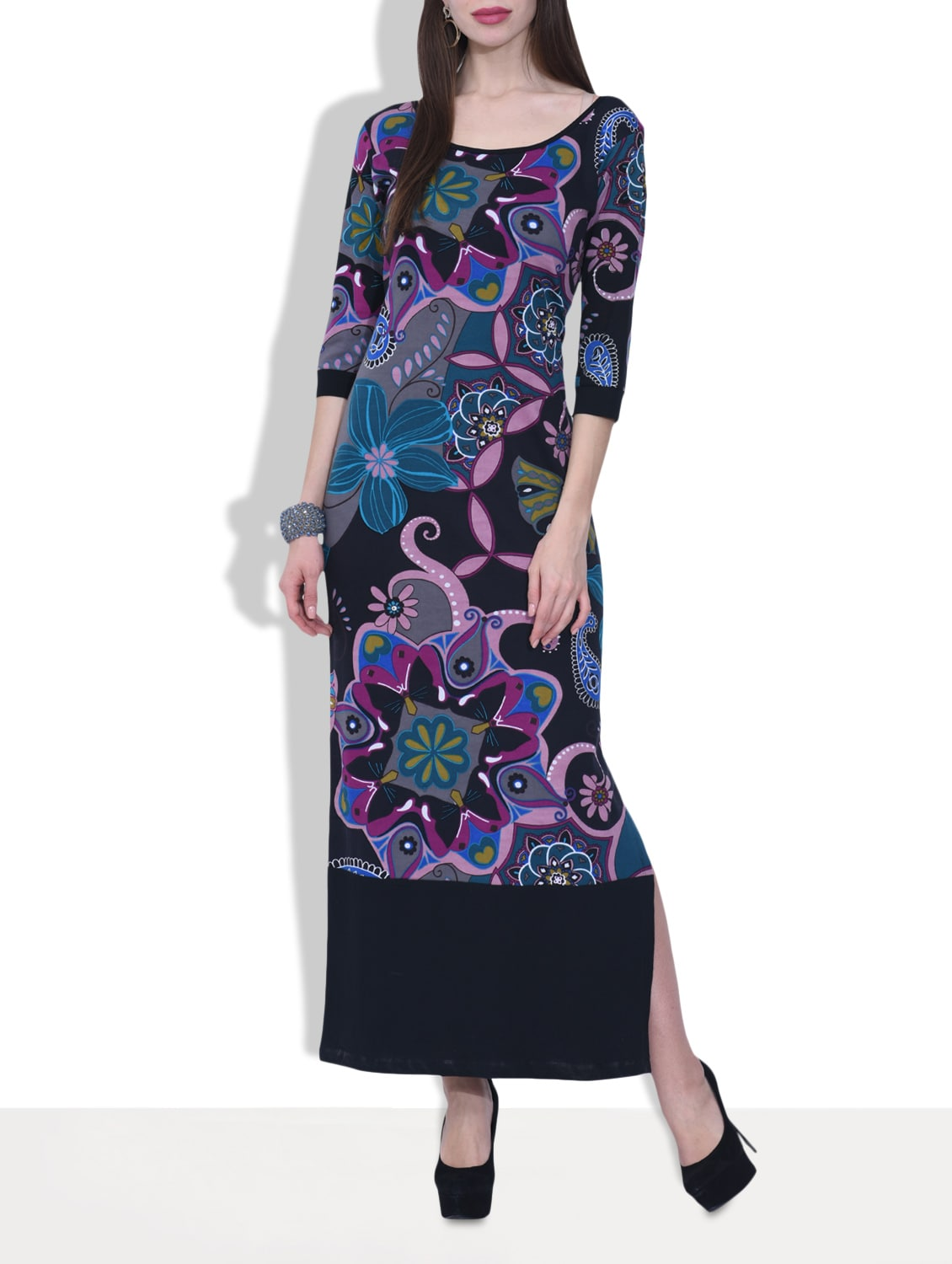 Black Knitted Cotton Printed Maxi Dress - By