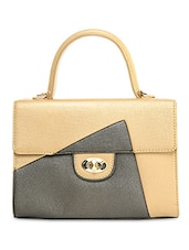 Gold Leather Handbag - By