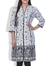 White Printed Quarter Sleeved Cotton Kurti - By