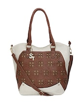 White Faux Leather Cut Worked Shoulder Bag - By