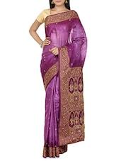 Purple Brocade Tussar Silk Saree - By