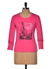 Pink Printed Round-neck Women's  T Shirt - Aloha