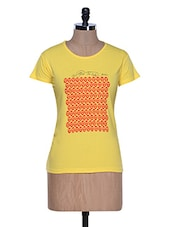 Yellow Half Sleeve Crew Neck T-shirt - Aloha