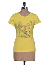 Lemon Yellow Printed Half Sleeve Crew Neck T-shirt - Aloha