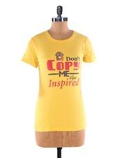 Yellow Crew Neck Cotton T-shirt - Kapdaclick.com