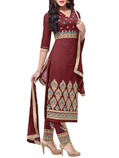 Brown Cambric Cotton Embroidered Unstitched Suit Set - By