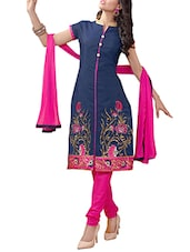 Navy Blue Chanderi Silk Unstitched Dress Material - By