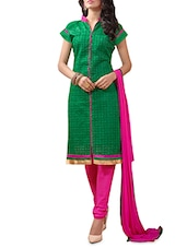 Green And Pink Embroidered Unstitched Suit Set - By