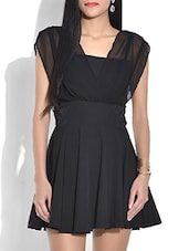 Solid Black Flared Short Dress - By