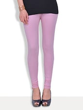 Premium  Solid Light Pink Cotton Lycra Legging - By