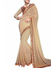 Beige Georgette Saree With Embroidered Border - By