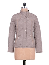 Solid Grey Quilted Full-sleeved Jacket - By