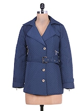 Navy Blue Quilted Full-sleeved Jacket - By