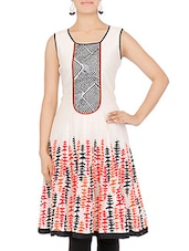 White Printed Sleeveless Chanderi Kurta - By