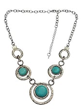 Turquoise Stone Embellished Circular Interlinked Necklace - By