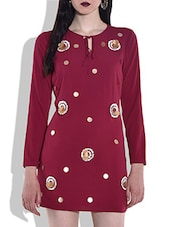 Red Full Sleeved Tunic With Applique Details - By