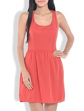 Solid Coral Red Fit And Flare Dress - By