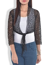 Solid Black Net Shrug With Front Knot - By