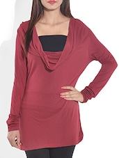 Maroon Cowl Neck Knitted Viscose Top - By