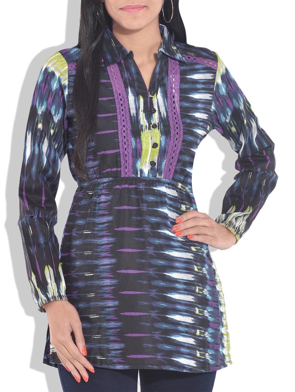 dark blue printed full sleeved rayon top