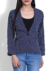 Navy Polka Dotted Poly Crepe Blazer - By