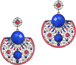 Blue acrylic beaded earrings