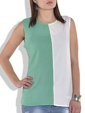 Sea Green And White Color Blocked Top - By
