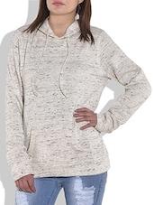 Cream Full Sleeved Cotton Fleece Hoodie Sweatshirt - By