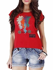 Red Multi Printed Cotton Top - By