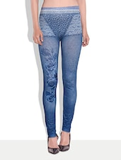 Light Blue Printed Jeggings - By