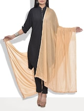 Solid Beige Cotton Dupatta - By