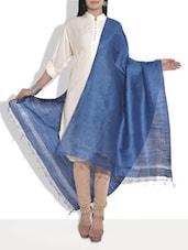 Solid Blue Cotton Silk Dupatta - By