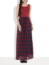 Maroon Checkered Sleeveless Maxi Dress - By